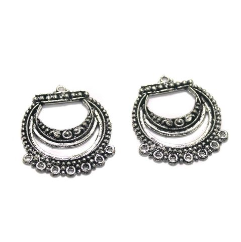 10 Pcs. German Silver Earring Components Silver 36x30 mm