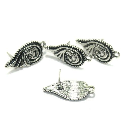 20 Pcs. German Silver Earring Components Silver 21x13 mm