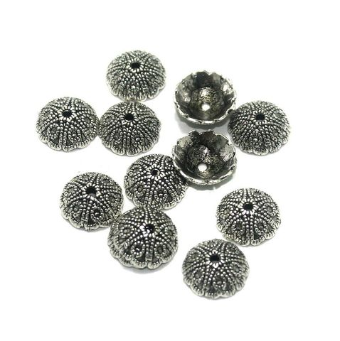100 Pcs. German Silver Bead Caps Silver 12x4 mm
