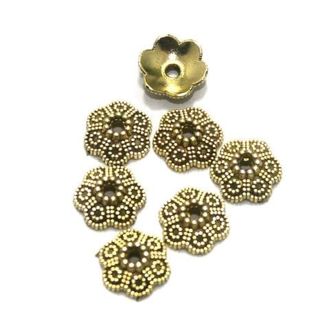 100 Pcs. German Silver Bead Caps Golden 10x4 mm