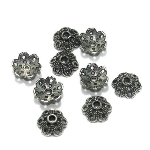 100 Pcs. German Silver Bead Caps 10x4 mm