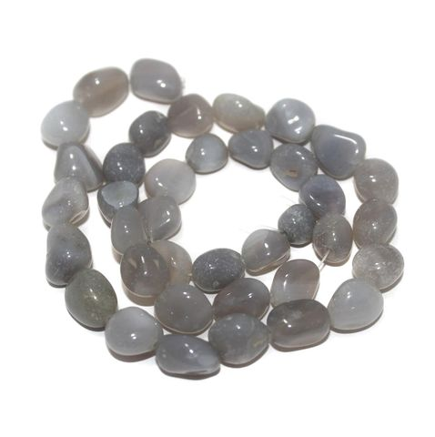 Tumbled Grey Agate Stone Beads 12-10 mm