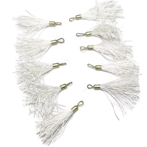 100 Pcs. Tassel Danglers White 2 Inch