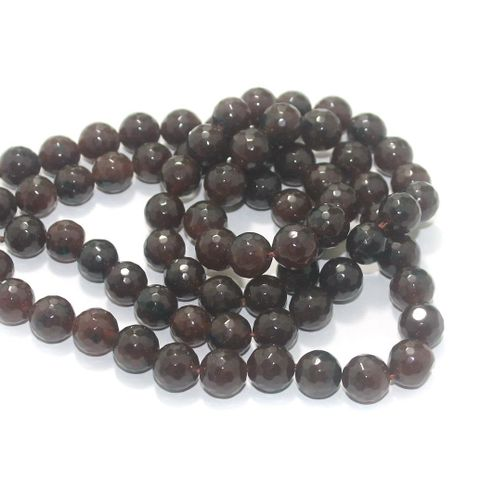 Zed Cut Round Beads Brown 10 mm, 2 string
