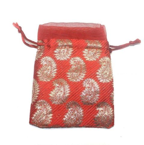 Potli Bags Red for Jewellery Gift & Craft 14x11cm, Pack of 100 pcs