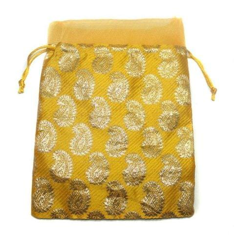 Potli Bags Yellow for Jewellery Gift & Craft 23x18cm, Pack of 50 pcs