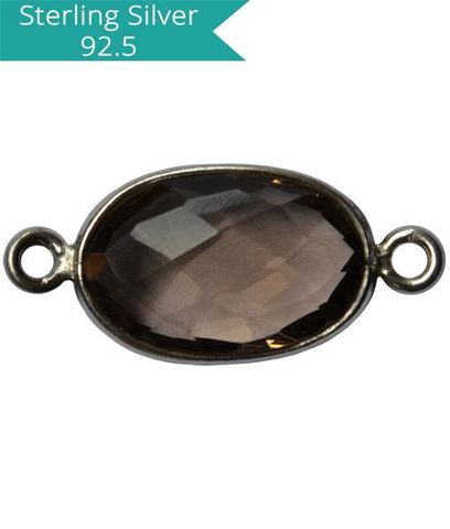 925 Silver Smoky Topaz Connector, Pack of 2 Pcs.