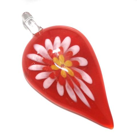 Glass Flower Pendant 65x32mm