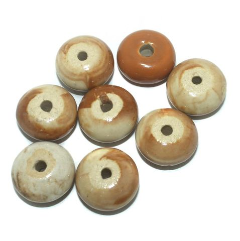 25 Pcs. Ceramic Roundell Beads Brown 22x12 mm