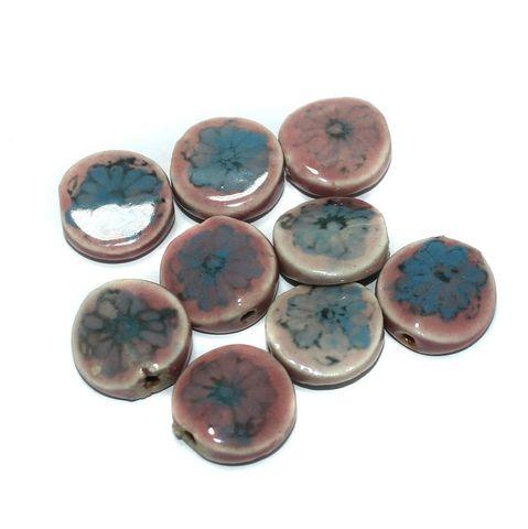 25 Pcs. Ceramic Disc Beads Multi Color 20x8 mm