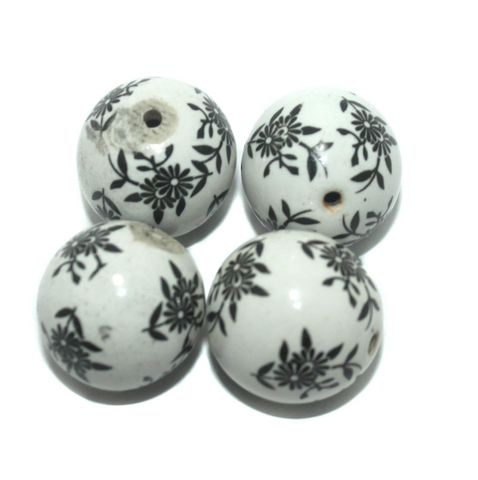 10 Pcs. Ceramic Round Beads 28 mm