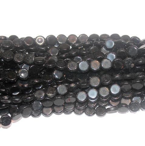 Black Press Beads 9mm Flat Round 10 Strings