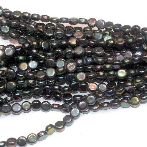 Metallic Black Press Beads 8mm Flat Round 10 Strings