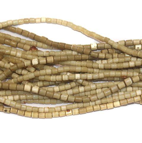 Cat's Eye Tube Beads Beige 3x5mm 10 Strings