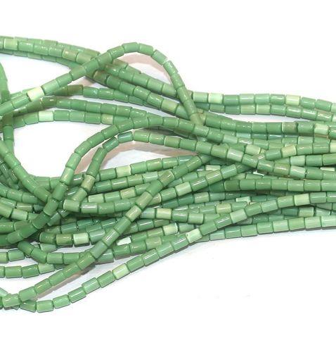 Cat's Eye Tube Beads Light Green 3x5mm 10 Strings