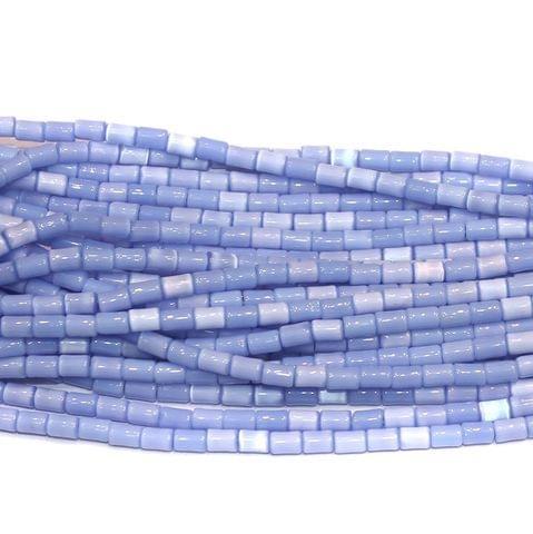 Cat's Eye Tube Beads Sky Blue 3x5mm 10 Strings