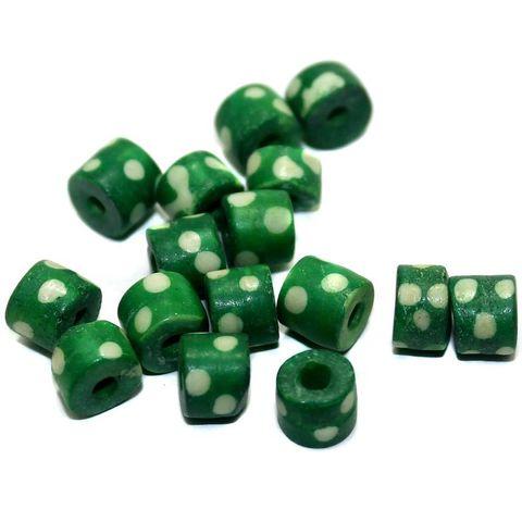 100 Bone Tyre Beads Green 6x7 mm