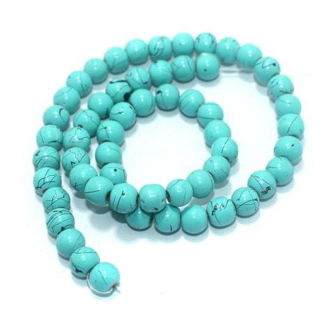 55+ Synthetic Stone Round Beads Turquoise 8 mm