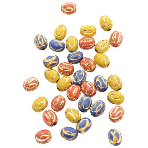Buy 1 Get 1 Pack Free Multi coloured Metallic Gold Engraved Bead