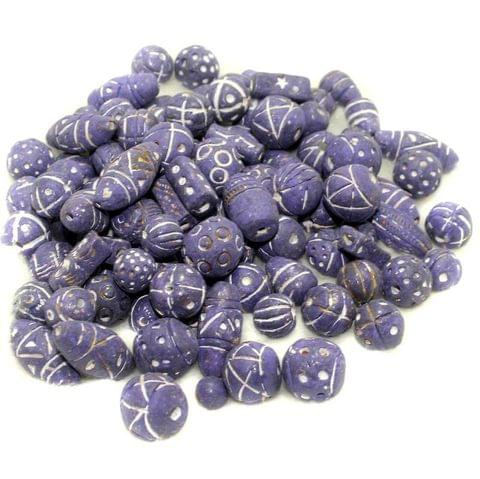 50 Clay Beads Assorted Purple 12-30mm