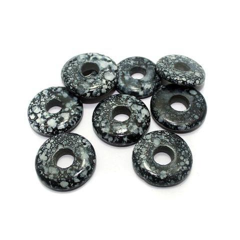 25 Marble Coins Beads Dark Grey 30 mm