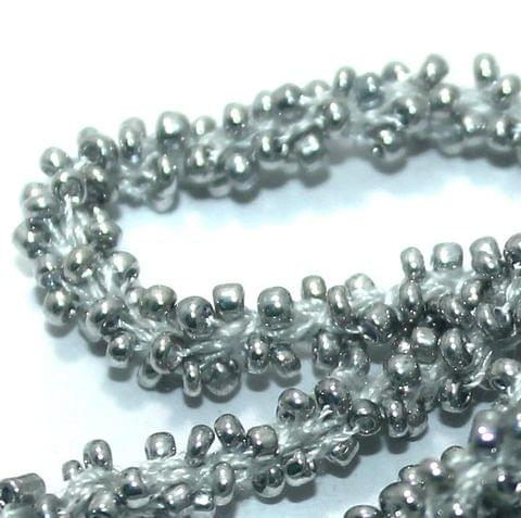 1 Mtr Metallic Silver Seed Bead Beaded String For Necklace