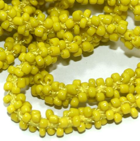 1 Mtr Opaque Yellow Seed Bead Beaded String For Necklace