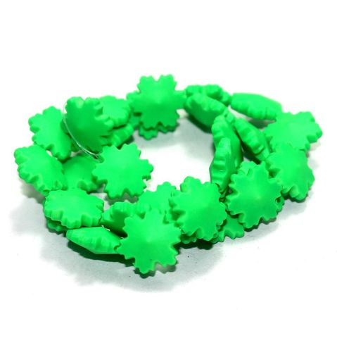 50 Neon Acrylic Flower Beads Lime 15 mm