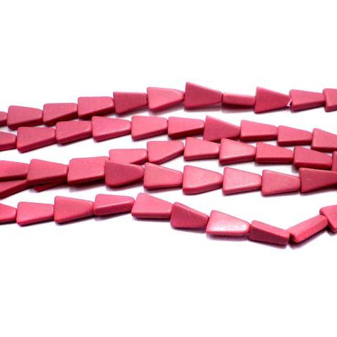 1 Strings Semiprecious Triangle Beads Pink 10X6 mm