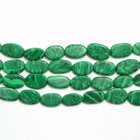 1 Strings Semiprecious Oval Beads Green 10X6mm