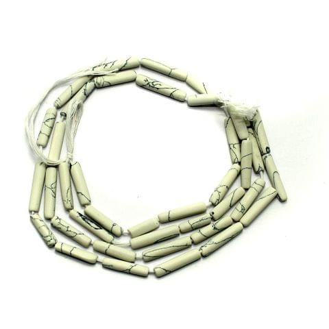 1 Strings Semiprecious Tube Beads White 16X3mm