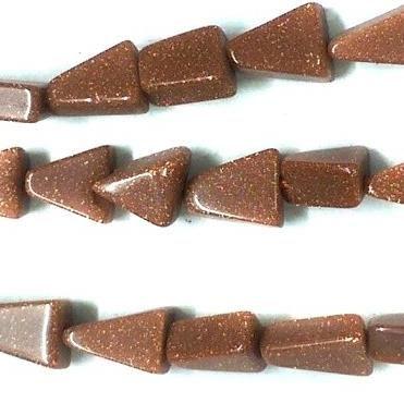 1 Strings Semiprecious Stone Triangle Beads Sunstone 7x5 mm