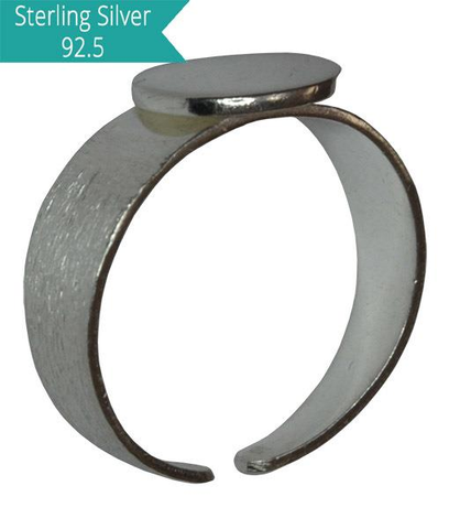 Sterling Silver Brushed Ring with Disc-10mm