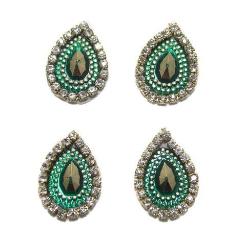 12 Cabochon Bezels Tear Drop Green 18x14mm