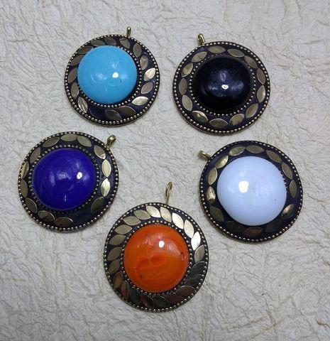 Tibetan Pendants, Size 5x5cm, Pack of 5 pcs