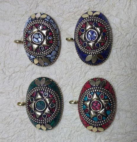 Tibetan Pendants, Size 4x5.5cm, Pack of 4 pcs