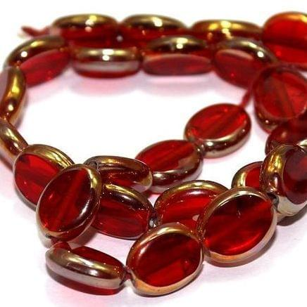5 Strings Windw Metallic Lining Flat Oval Beads Light Red 11x9 mm