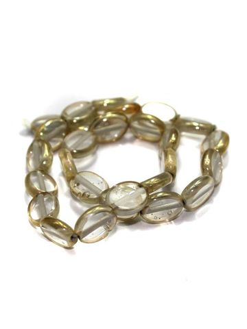 5 Strings Window Metallic Lining Flat Oval Beads 11x9 mm