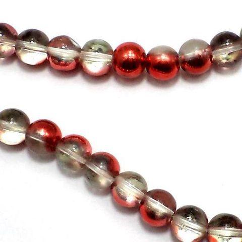 5 Strings Half Metallic Round Beads Red 8 mm