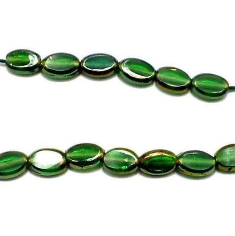 5 Strings Window Metallic Lining Oval Beads Green 10x7 mm