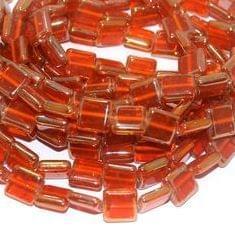 5 Strings Glass Window Metallic Square Beads Orange 12 mm