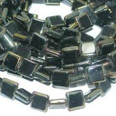 5 Strings Glass Window Metallic Square Beads Black 12 mm