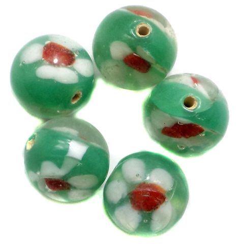 15+ Fancy Beads Round Inside Green 14mm