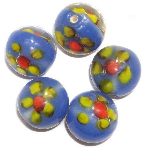 15+ Fancy Beads Round Inside Blue 14mm