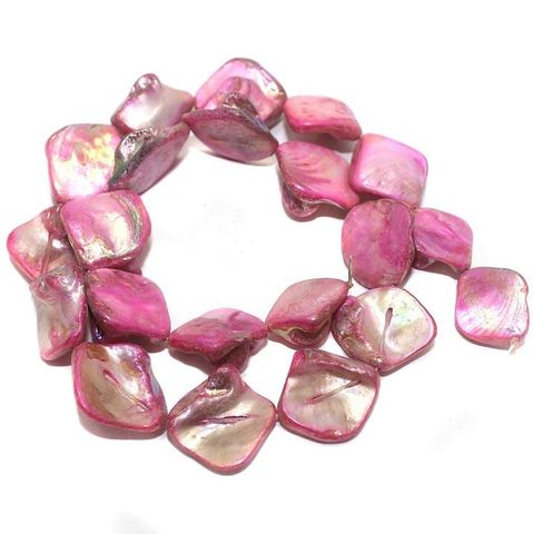 15+ Natural Freeform Shape Shell Beads Pink 20x18mm