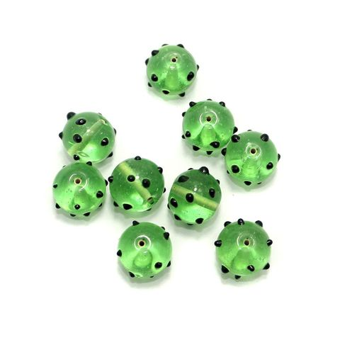 100+ Bump Dotted Round Beads Light Green 16 mm