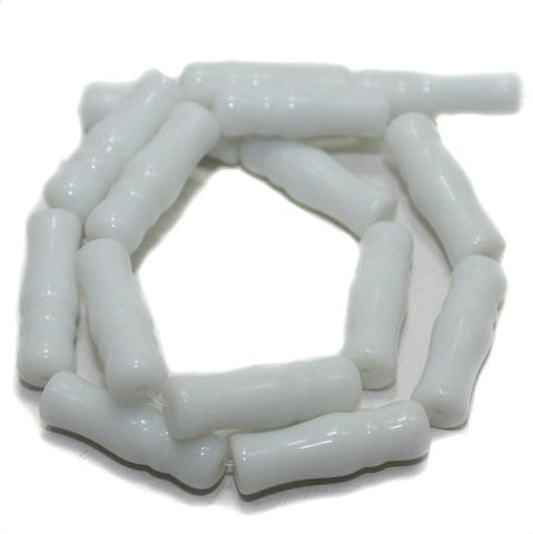 5 Strings Glass Beads Imam Opaque White 8x24 mm