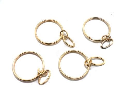 25 Pcs of Key Ring With Chain Golden 28 mm