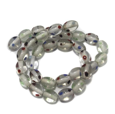 5 Strings Glass Oval Beads Tans White 12x10 mm