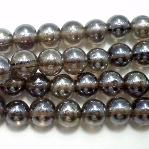 5 Strings Special Polish Glass Round Beads Smokey Quartz 8 mm